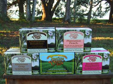 New American Teas: Charleston Breakfast, Plantation Peach, Governor Grey and Rockville Raspberry.