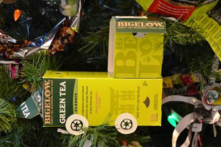 bttues2_Trimming Bigelow Tea's #Eco Tree With Upcycled Ornaments!